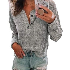 Grey Henley Pullover with Front Pocket Shirt S